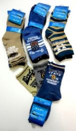 96 Units of Boys printed crew socks, size 6 years to 8 years, assorted styles - Boys Crew Sock