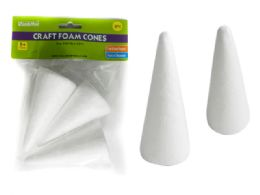 """96 Units of 3 PC Craft Foam Cones Size: 4"""" H Each - Craft Kits"""