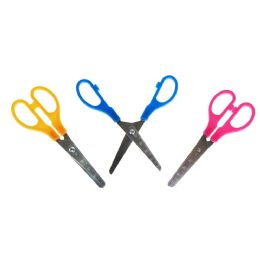 """96 Units of Kids 5"""" Long Measuring Safety Scissors In 3 Assorted Colors - Scissors"""