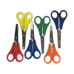 """96 Units of 5"""" Long Measuring Safety Scissors In 6 Assorted Colors - Scissors"""