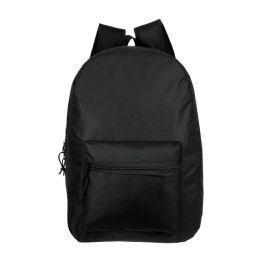 "24 Units of 15"" Kids Basic Black Backpacks - Backpacks 15"" or Less"
