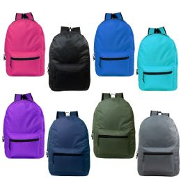 "24 Units of 15"" Kids Basic Backpack in 8 Assorted Colors - Backpacks 15"" or Less"