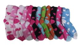 12 Pairs of excell Women's Heart Fuzzy Socks, Sock Size 9-11 - Womens Fuzzy Socks