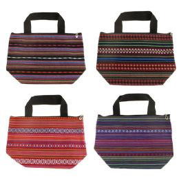 24 Units of Insulated Jute Lunch Tote in 4 Assorted Prints - Lunch Bags & Accessories