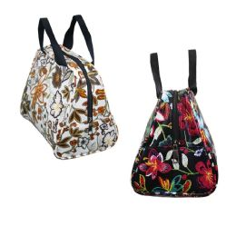 24 Units of Large Insulated Lunch Tote in 4 Flower Prints - Lunch Bags & Accessories