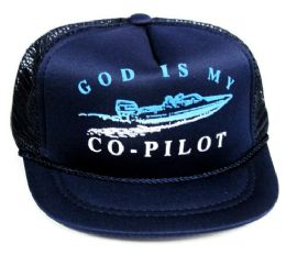 "24 Units of Infant ""God is My Co-Pilot"" mesh hat in assorted colors - Baby Apparel"