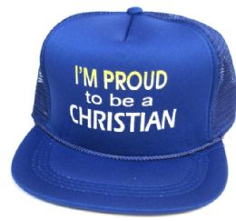 """48 Units of Youth mesh back printed hat, """"I'M PROUD TO BE A CHRISTIAN"""", assorted colors - Kids Baseball Caps"""