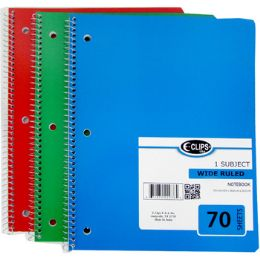 48 Units of 1 Subject Wide Ruled Wire Notebook in Assorted Colors - Notebooks