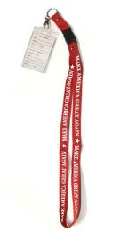 48 Units of Make America Great Again Lanyards - Red - ID Holders