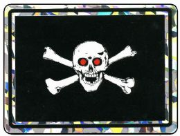 """96 Units of 3"""" x 4"""" Decal, Jolly Roger with red eyes - Stickers"""