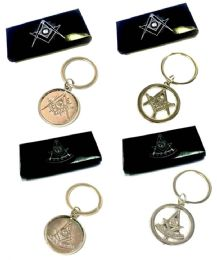 24 Units of Metal Masonic keychains, individually boxed, mix of styles - Key Chains