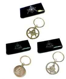 36 Units of Metal Masonic keychains - mixed designs - individually boxed - Key Chains