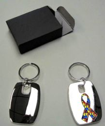 24 Units of Metal keychain with metal Autism awareness insignia, individually gift boxed - Key Chains