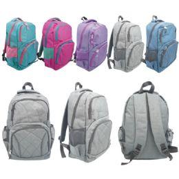 "12 Units of Backpack Assorted Color - Backpacks 17"""