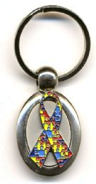 "24 Units of 1.375"" Oval heavy metal keychain with metal Autism Awareness Ribbon insignia - Key Chains"