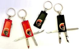 "24 Units of 2.75"" Four function red and black metal keychains with brass biker insignia - Key Chains"