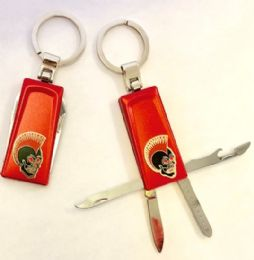 "24 Units of 2.75"" Four function red metal keychain with brass biker insignia - Key Chains"
