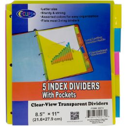48 Units of Poly Tab Dividers With Pockets - 5 Pack - Folders and Report Covers