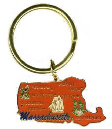 "36 Units of Heavy brass keychain, MASSACHUSETTS, state is approx. 1.75"" in size - Key Chains"