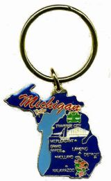 """36 Units of Heavy brass keychain, MICHIGAN, state is approx. 1.75"""" in size - Key Chains"""