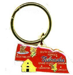 "36 Units of Heavy brass keychain, NEBRASKA, state is approx. 1.75"" in size - Key Chains"