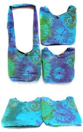 5 Units of Wholesale Nepal Handmade Cotton Tie Dye Heart Peace Flower Purse - Shoulder Bags & Messenger Bags