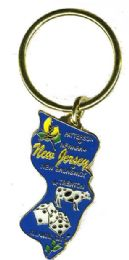 """36 Units of Heavy brass keychain, NEW JERSEY, state is approx. 1.75"""" in size - Key Chains"""