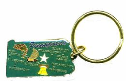 """36 Units of Heavy brass keychain, PENNSYLVANIA, state is approx. 1.75"""" in size - Key Chains"""