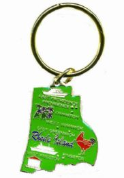 """36 Units of Heavy brass keychain, RHODE ISLAND, state is approx. 1.75"""" in size - Key Chains"""