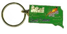 """36 Units of Heavy brass keychain, SOUTH DAKOTA, state is approx. 1.75"""" in size - Key Chains"""
