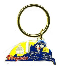 """36 Units of Heavy brass keychain, Virginia, state is approx. 1.75"""" in size - Key Chains"""