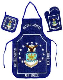 6 Units of Air Force kitchen set consists of apron, oven mitt and hot pad - Oven Mits & Pot Holders
