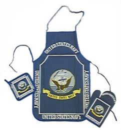 6 Units of Navy kitchen set consists of apron, oven mitt and hot pad - Oven Mits & Pot Holders