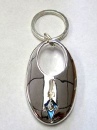 """24 Units of 2.5"""" Metal keychain with metal Masonic insignia, individually gift boxed - Key Chains"""