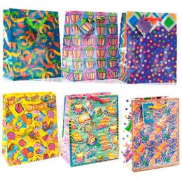 144 Units of Gift Bags- Birthday- Assorted Designs- Small Size - Gift Bags Assorted