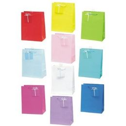 216 Units of Gift Bags- Large- Assorted Solid Colors - Gift Bags Assorted