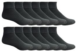 12 Units of Yacht & Smith Men's Premium Cotton Quarter Ankle Sport Socks Size 10-13 Solid Black - Mens Ankle Sock