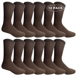 12 Units of Yacht & Smith Men's Crew Socks Size 10-13 Brown - Mens Crew Socks