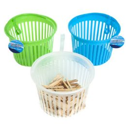 36 Units of Clothespin Basket With Hanging Hook - Clothes Pins