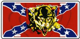 24 Units of Rebel Flag With Wolf Metal License Plate - Auto Accessories
