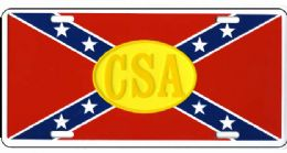 24 Units of Csa Rebel Flag Metal License Plate - Auto Accessories