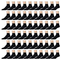 120 Pairs Of excell Mens Black Quarter Ankle Athletic Socks for Men, Wholesale, Size 10-13 - Mens Ankle Sock