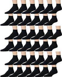 36 Units of Yacht & Smith Men's Cotton Quarter Ankle Sport Socks Size 10-13 Solid Black - Mens Ankle Sock