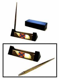 """12 Units of Brass Pen Set With """"the South Will Rise Again"""" Insignia - Auto Accessories"""