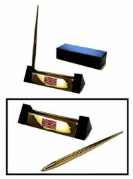 12 Units of Brass Pen Set With Brass Rebel Flag Insignia - Auto Accessories