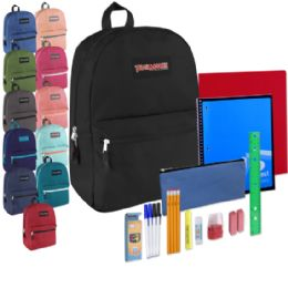 """12 Units of Preassembled 17 Inch Backpack & 12 Piece School Supply Kit - 12 Colors - Backpacks 17"""""""