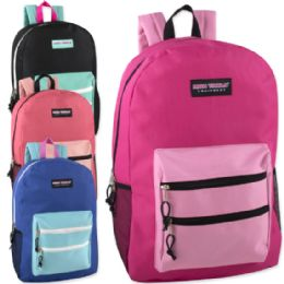 """24 Units of High Trails 19 Inch Double Zip Backpack With Two Side Mesh pockets - Backpacks 18"""" or Larger"""