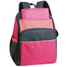 24 Units of 17 Inch Pink Color Block Diaper Backpack - Baby Diaper Bag