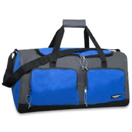 24 Units of 24 Inch Multi Pocket Duffle Bag Blue Color Only - Duffel Bags