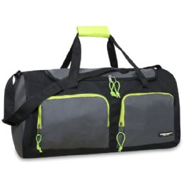 24 Units of 24 Inch Multi Pocket Duffle Bag Black Color Only - Duffel Bags